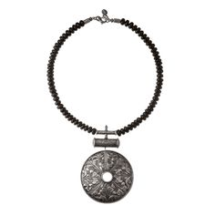 Silver and onyx - handcrafted necklace from NEPAL collection by Anna Orska.