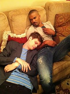 "Matthew Gray Gubler and Shemar Moore on the set of ""Criminal Minds"". Matthew, you cutie!"