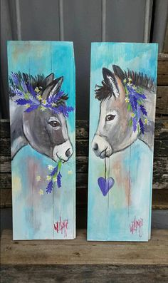 Teal blue and purple donkeys painting with heart and wildflowers. Pallet Painting, Pallet Art, Tole Painting, Painting On Wood, Painting & Drawing, Watercolor Paintings, Farm Art, Horse Art, Animal Paintings