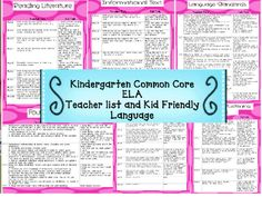 Free! Kindergarten Common Core Reading List and Kid Friendly Language