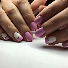 Pink and white nails Nails 2018, Mani Pedi, White Nails, Nail Inspo, Nail Designs, Hair Beauty, Nail Polish, Make Up, Nail Art