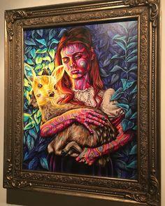 """My Dearest Departed"" by @joshuaromanart at @sallycentigrade #artgallery #larimersquare #denverart #mydeerest"