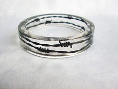 Handmade Barb Wire in Clear Resin Bangle Gothic Jewelry