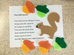 Flannel Friday – 5 Little Acorns Flannel Board Stories, Felt Board Stories, Felt Stories, Flannel Boards, Fall Preschool, Preschool Songs, Preschool Activities, Kindergarten Music, Dinosaur Activities