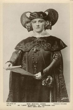 1924 - as Lady Blanche in Princess Ida. Contralto Bertha Lewis was born in London on 12th May 1887 and died in Cambridge on 8th May 1931 from injuries from a car accident. She made her debut with the D'Oyly Carte Company in 1906. In May 1931 she was a passenger in Henry Lytton's motor-car when it crashed. Lytton was injured but survived, Lewis was taken unconscious to a nursing home where she died four days later.