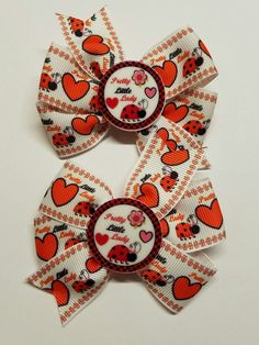 2 Ladybug Inspired Hair Bows/ Boutique Pigtail Bows #Unbranded