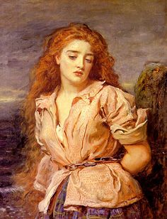John Everett Millais - The Martyr of Solway - Margaret Wilson was a Scottish Covenanter who, on May 11, 1685, was executed by drowning at 18 years of age with her elderly friend Margaret McLachlan for refusing to swear on oath that James VII was the head of the church.