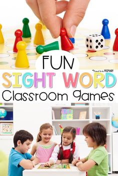Teachers will enjoy using these fun sight word classroom games that actually help kids learn their sight words while playing in the classroom. Tons of games suggested, including card games, board games, sentence games, and hands-on learning games. #sightwords #sightwordactivities #sightwordgames #gamesforkids #classroomgames