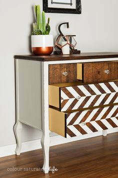 Painted Dresser Makeover - A herringbone pattern (and a hidden pop of yellow inside in the drawers) offers the dresser a new 21st-century life.