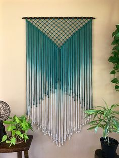 This extra large macrame wall hanging was made with hand dyed ombre teal cotton . Hand Made , This extra large macrame wall hanging was made with hand dyed ombre teal cotton . This extra large macrame wall hanging was made with hand dyed ombr. Macrame Design, Macrame Art, Macrame Projects, Macrame Knots, Macrame Curtain, Large Macrame Wall Hanging, Gypsy Decor, Macrame Tutorial, Macrame Patterns