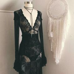 Black lace witch dress