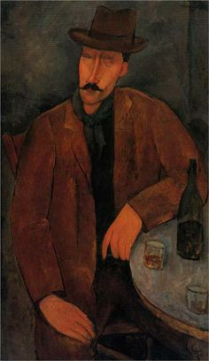 Man with a Glass of Wine - Amedeo Modigliani, c.1918
