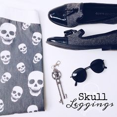 Skull Leggings Great stretch fit // charcoal and cream color leggings for an edgy or funky look // excellent condition // only worn a few times // size small could fit XS or S easily // I'm more m/l, so these were a bit too tight for me // solid waistband keeps tummy flat Pants Leggings