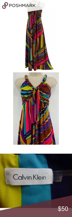 """14 Large XL CALVIN KLEIN MULTI-COLOR MAXI DRESS This gorgeous CALVIN KLEIN maxi dress is sexy, colorful, and fashionable!   Size: 14 Slip on/off Gorgeous abstract print in amazing colors! Stretchy jersey fabric    Elastic/ruched neckline with attached tie Maxi Measurements: Bust (armpit to armpit):  41"""" relaxed - stretches to 53"""" Empire Waist: 37"""" relaxed - stretches to 47"""" Hips:  63"""" relaxed Length: 56"""" (top of shoulder to bottom hem)  Condition:  PRISTINE CONDITION! Fabric Content: 95%…"""
