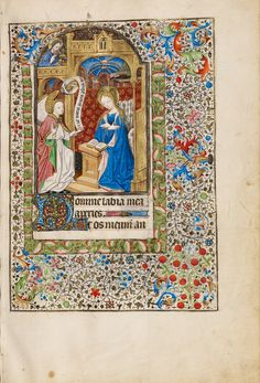 Workshop of the Bedford Master (French, active first half of 15th century); The Annunciation; Paris, France; about 1440 - 1450; Tempera colors, gold leaf, gold paint, and ink on parchment; Leaf: 23.5 x 16.4 cm (9 1/4 x 6 7/16 in.); Ms. Ludwig IX 6, fol. 31; J. Paul Getty Museum, Los Angeles, California