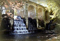 Cumberland Mountain State Park Bridge and Waterfall near Crossville, Tennessee