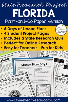 State Research Project | GEORGIA Print-and-Go Paper State Report is a fun and easy state report project for upper elementary students. This easy-to-use resource includes links to safe reference websites and step-by-step lesson plans to get your students started with an online research project. Students research symbols, the flag, geography, and history. It is fun and easy! Buy State Research Project | GEORGIA Print-and-Go Paper State Report and take the stress out of planning your lessons. Key Projects, Research Projects, 4th Grade Social Studies, State Of Florida, Upper Elementary, Best Teacher, Geography, Missouri, Lesson Plans