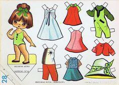Barbie Paper Dolls, Vintage Paper Dolls, Paper Toys, Vintage Postcards, Crafts For Kids, Miniatures, Scrapbook, Illustration, Pretty