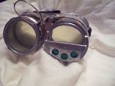 Diy steampunk goggles using recycled and dollar store items.
