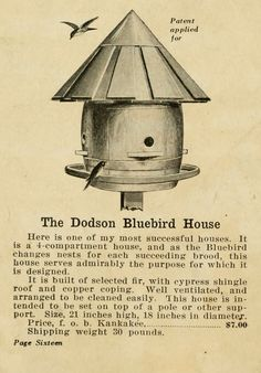 Birdhouse. (Your bird friends and how to win them  by Joseph H. Dodson (1917))