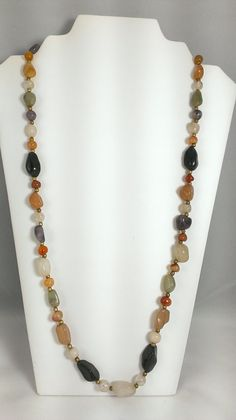 1960s Long Necklace Semi Precious Polished Quartz by TheArtisanal
