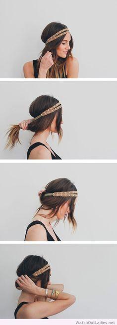 Boho headband messy updo ponytail