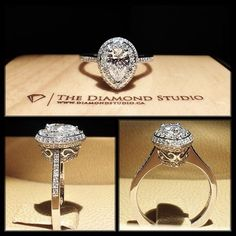 How amazing is this diamondboi vintage design? The centre was made with a Pear shaped diamond. Its sits on a double pear shaped bead set halo. Pear Wedding Ring, Wedding Rings Vintage, Vintage Rings, Wedding Jewelry, Wedding Bands, Engagement Jewellery, Trendy Wedding, Dream Wedding, Wedding Ideas