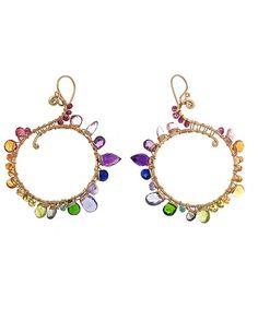 14k gold fill earrings have pink tourmaline, citrine, orange sapphire, peridot, vessonite, emerald, iolite, kyanite, amethyst and pink topaz stones.