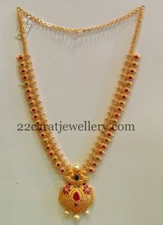 Jewellery Designs: CZ Long Set with Pretty Locket
