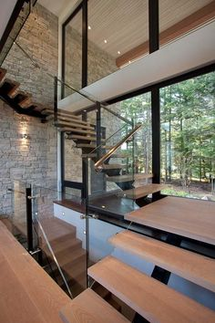 Staircase in Contemporary Mountain Home