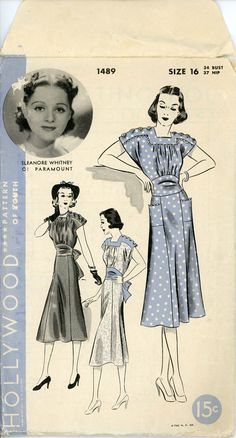 1930s Dress Pattern Bust 34 Hollywood 1489 Day Evening Cocktail Dress Fit Flare…