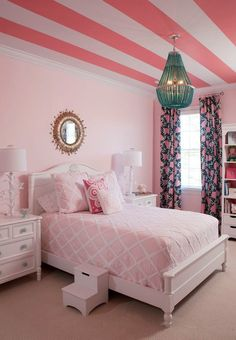 Pink, white, turquoise, and navy look incredible in this little girl's fun and playful room.  Stripes on the ceiling look amazing too!