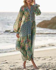 Ladies casual V-neck printed short sleeve dress - realyiyi.com Boho Fashion, Fashion Outfits, Womens Fashion, Fast Fashion, Fashion Online, Fashion Hair, Spring Fashion, Style Fashion, Winter Fashion
