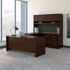 Desks & Tables Creative New Napa Espresso Bowfront Executive Office Desk Set With Credenza And Hutch To Enjoy High Reputation At Home And Abroad
