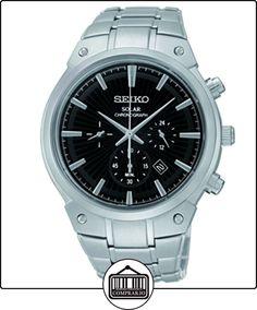 Seiko SSC317 Relojes de los hombres del núcleo Solar es negro como se muestra en el reloj de pulsera de acero con textura de  ✿ Relojes para hombre - (Gama media/alta) ✿