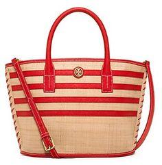 69185a96e4 Tory Burch Stripe Straw Mini Tote Red Tote Bag