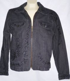 Woman's COLDWATER CREEK Beaded Gray Jean Jacket Embroidery & Black Beads M #ColdwaterCreek #JeanJacket