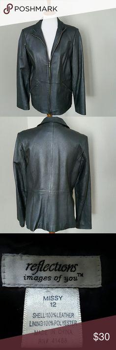 Leather Blazer Black leather zip up blazer. Front slash pockets.  Good condition. reflections  Jackets & Coats Blazers