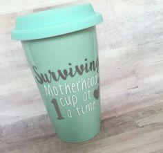 Surviving Motherhood Travel Coffee Mug by OhSoVinyl on Etsy