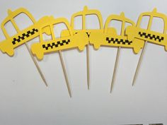 10 Yellow Taxi Cab cupcake toppers. Sex in the City party. New York theme party. Yellow cab.