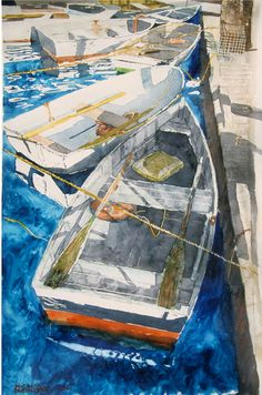 "boats dockside maine - sketch  22"" x 16"" micheal zarowsky watercolour on arches paper / private collection"