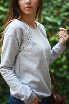 lace trimmed sweatshirt...how to...