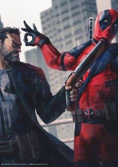 Deadpool & Punisher by Warrick Wong Punisher Marvel, Marvel Vs, Marvel Heroes, Punisher Max, Wolverine, Captain Marvel, Comic Manga, Comic Art, Comic Pics