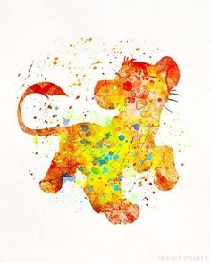 Simba, The Lion King Disney Watercolor Print. Prices from $9.95. Available at InkistPrints.com - #disney #watercolor #babyart #decor #nurseryart #LionKing