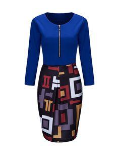 Round Neck Zips Geometric Bodycon Dress Only $18.95 USD More info...