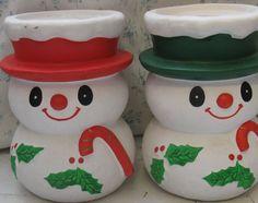 mid century paper mache snowmen candleholders by rivertownvintage