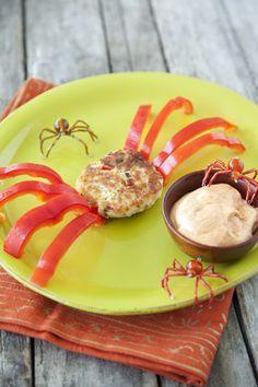 Paula Deen Crunchy Crab Cake Spiders: http://www.pauladeen.com/recipes/recipe_view/crunchy_crab_cake_spiders/ #Halloween #crabcake