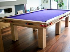 Ball-Runner pool table handmade from solid Ash by Sir William Bentley Billiards Diy Pool Table, Custom Pool Tables, Pool Table Room, Billiard Pool Table, Billiard Room, Small Game Rooms, Pool Table Accessories, Billiards Game, Diy Garden Fountains