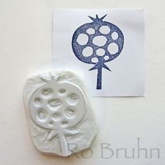 Hand carved pomegranate stamp by robruhn on Etsy, $15.00
