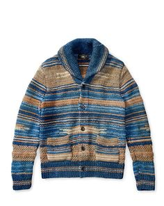 Indigo Cotton-Blend Cardigan - RRL Crewneck - RalphLauren.com